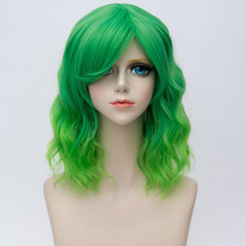 Medium Side Bang Natural Wavy Ombre Synthetic Party Cosplay Wig - EMERALD