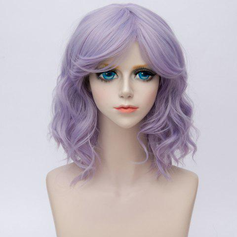 Medium Side Bang Natural Wavy Ombre Synthetic Party Cosplay Wig - BLUE VIOLET