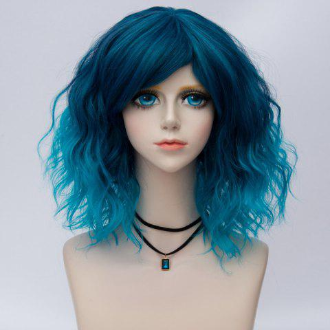 Medium Side Bang Natural Wavy Ombre Synthetic Party Cosplay Wig - BLUE