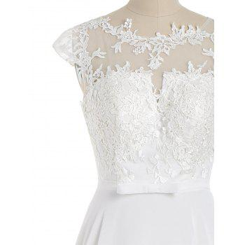 Cap Sleeve Lace Panel Bowknot Evening Dress - WHITE L