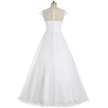 Cap Sleeve Lace Panel Bowknot Evening Dress - WHITE 2XL