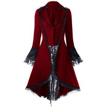 Lace Panel Lace-up High Low Coat - RED 2XL