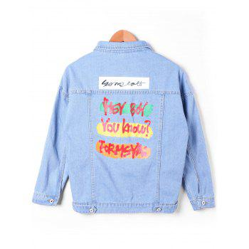 Flap Pockets Faded Denim Jacket - DENIM BLUE L