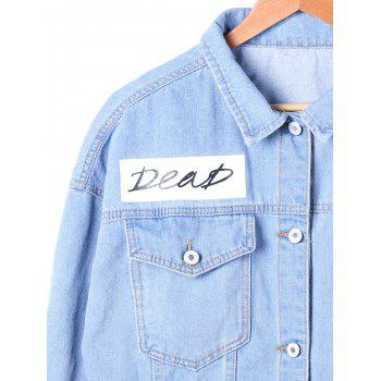 Flap Pockets Faded Denim Jacket - DENIM BLUE 2XL