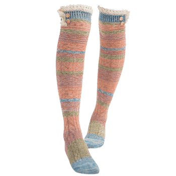 Pair of Button Embellished Striped Knee Highs Socks - LAKE BLUE