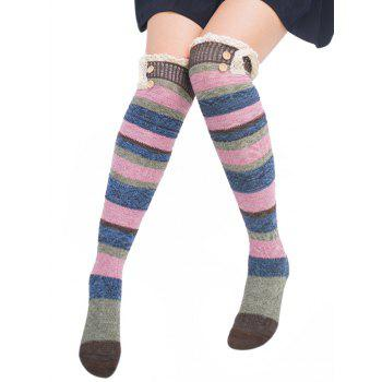Pair of Button Embellished Striped Knee Highs Socks - COFFEE COFFEE