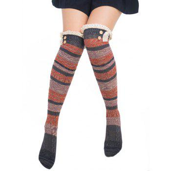 Pair of Button Embellished Striped Knee Highs Socks - DEEP GRAY DEEP GRAY