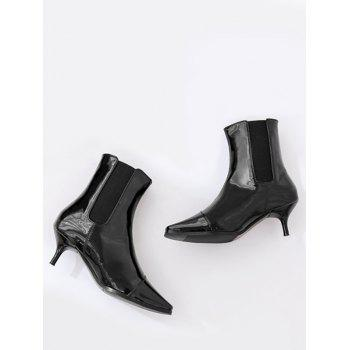 Square Toe Kitten Heel Ankle Boots - BLACK 38/7