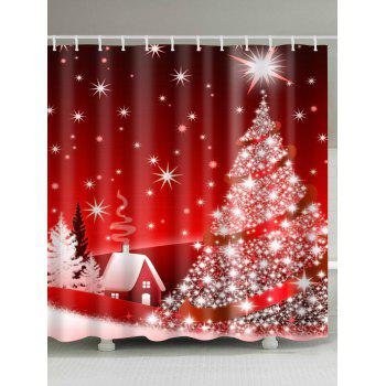 Christmas Tree Polyester Waterproof Shower Curtain