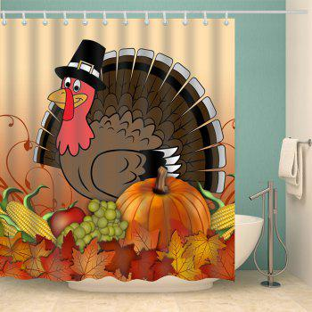 Thanksgiving Turkey Food Printed Waterproof Bath Curtain - COLORMIX W71 INCH * L79 INCH