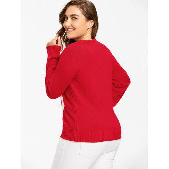 Christmas Elk Print Plus Size Sweater - RED XL