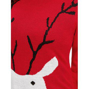 Christmas Elk Print Plus Size Sweater - RED 3XL
