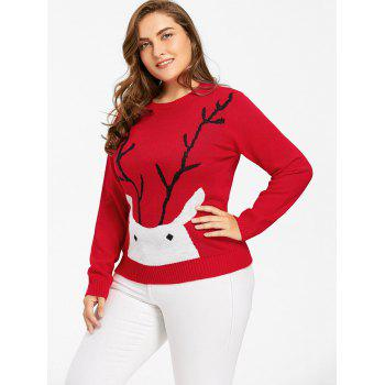 Christmas Elk Print Plus Size Sweater - RED RED