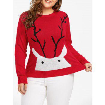 Christmas Elk Print Plus Size Sweater - RED 5XL