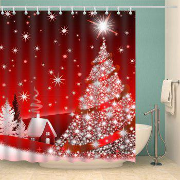 Christmas Tree Polyester Waterproof Shower Curtain - RED W71 INCH * L71 INCH