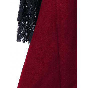 Lace Panel Lace-up High Low Coat - RED M
