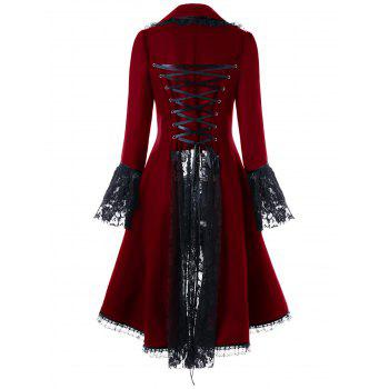 Lace Panel Lace-up High Low Coat - RED L