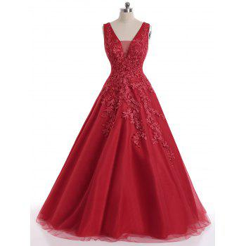 Floral Applique Mesh Sleeveless Maxi Evening Dress - RED RED