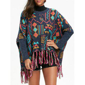 Tassel Batwing Sleeve Geometric Pattern Sweater - COLORMIX ONE SIZE