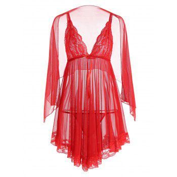 Mesh See Through Slip Babydoll - RED S