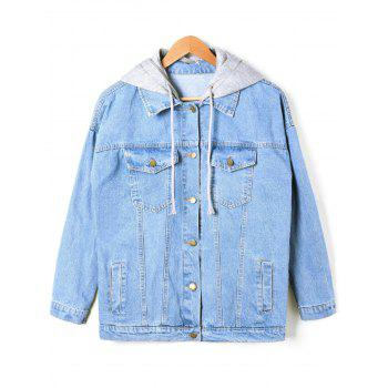 Flap Pockets Faded Hooded Denim Jacket - DENIM BLUE DENIM BLUE