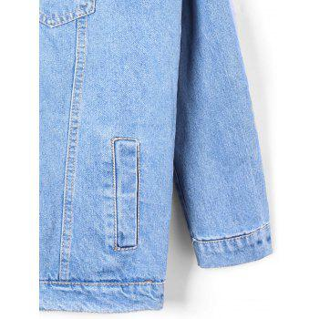 Flap Pockets Faded Hooded Denim Jacket - DENIM BLUE L