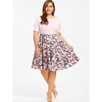 Plus Size Boat Neck Floral Print Dress - PINK 4XL