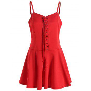 Christmas Lace-up Slip Dress - RED L