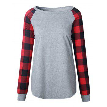 Plaid Panel Raglan Sleeve Top - LIGHT GRAY S