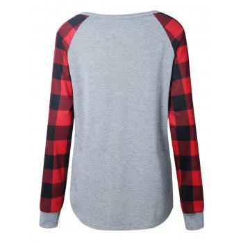 Plaid Panel Raglan Sleeve Top - LIGHT GRAY L