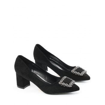 Chunky Heel Pointed Toe Rhinestone Pumps - BLACK 35