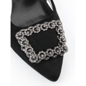 Chunky Heel Pointed Toe Rhinestone Pumps - 36 36