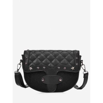Metal Stars Rivets Quilted Crossbody Bag - BLACK BLACK