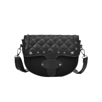 Metal Stars Rivets Quilted Crossbody Bag -  BLACK