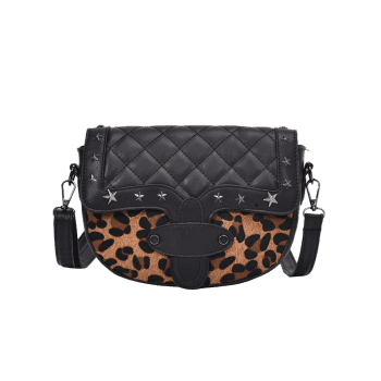Metal Stars Rivets Quilted Crossbody Bag -  BROWN