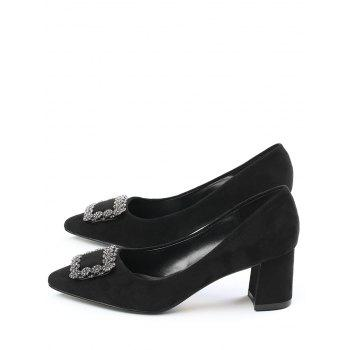 Chunky Heel Pointed Toe Rhinestone Pumps - BLACK BLACK