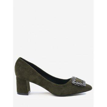 Chunky Heel Pointed Toe Rhinestone Pumps - ARMY GREEN 39