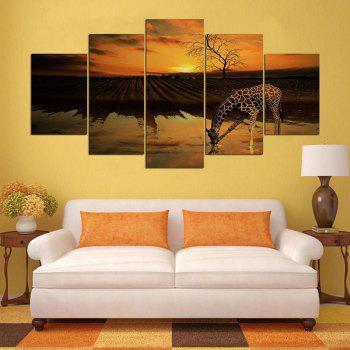 Wall Art Giraffe Field Pattern Unframed Split Canvas Paintings - BROWN 1PC:12*31,2PCS:12*16,2PCS:12*24 INCH( NO FRAME )
