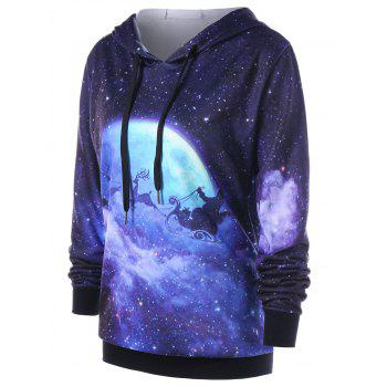 Christmas Plus Size Galaxy Reindeer Hoodie - COLORMIX 3XL
