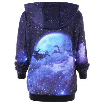 Christmas Plus Size Galaxy Reindeer Hoodie - COLORMIX 4XL