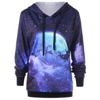 Christmas Plus Size Galaxy Reindeer Hoodie - COLORMIX 5XL