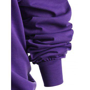 Plus Size Lips Graphic Skew Neck Sweatshirt - PURPLE 4XL