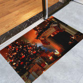 Christmas Tree Fireplace Pattern Indoor Outdoor Area Rug - COLORMIX W24 INCH * L35.5 INCH