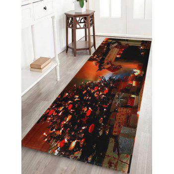 Christmas Tree Fireplace Pattern Indoor Outdoor Area Rug - COLORMIX W24 INCH * L71 INCH