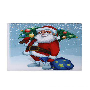 Christmas Santa Tree Pattern Indoor Outdoor Area Rug - COLORMIX W24 INCH * L35.5 INCH