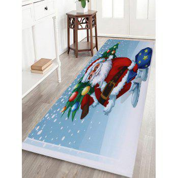 Christmas Santa Tree Pattern Indoor Outdoor Area Rug - COLORMIX W16 INCH * L47 INCH