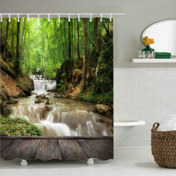 Forest Stream Wood Print Fabric Waterproof Shower Curtain - GREEN W71 INCH * L71 INCH