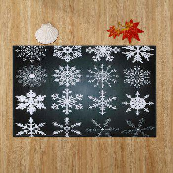Christmas Snowflake Coral Fleece Nonslip Bath Rug - BLACK GREY W24 INCH * L35.5 INCH
