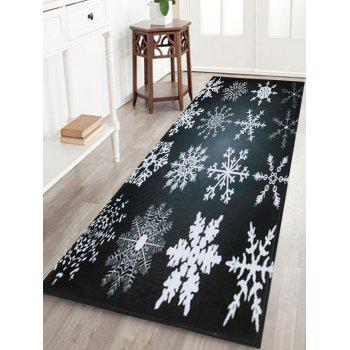 Christmas Snowflake Coral Fleece Nonslip Bath Rug - BLACK GREY W16 INCH * L47 INCH