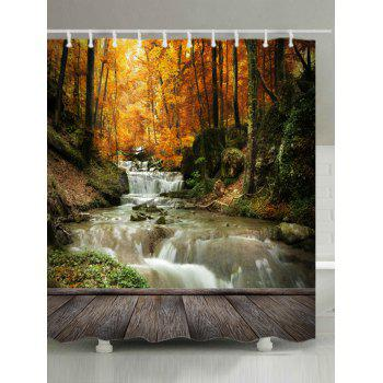 Maple Forest Stream Print Fabric Waterproof Shower Curtain - YELLOW W59 INCH * L71 INCH